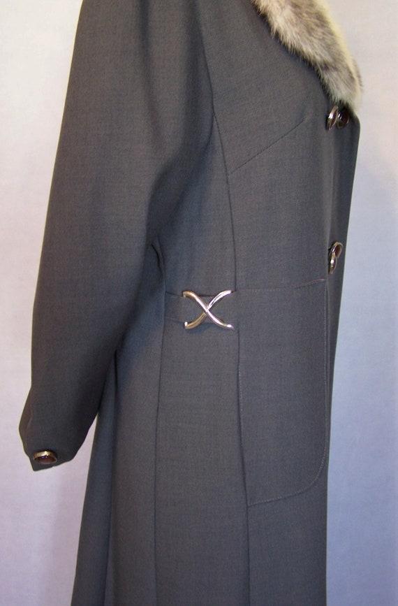 Gorgeous 70s Grey Wool Cross Mink Fur Trim Prince… - image 5