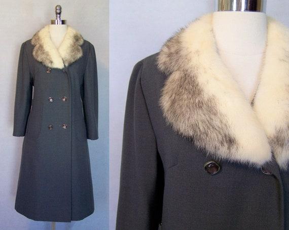 Gorgeous 70s Grey Wool Cross Mink Fur Trim Prince… - image 1
