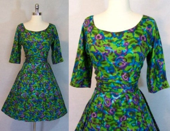 Gorgeous 50s JERRY GILDEN Floral Print Fit Flare P