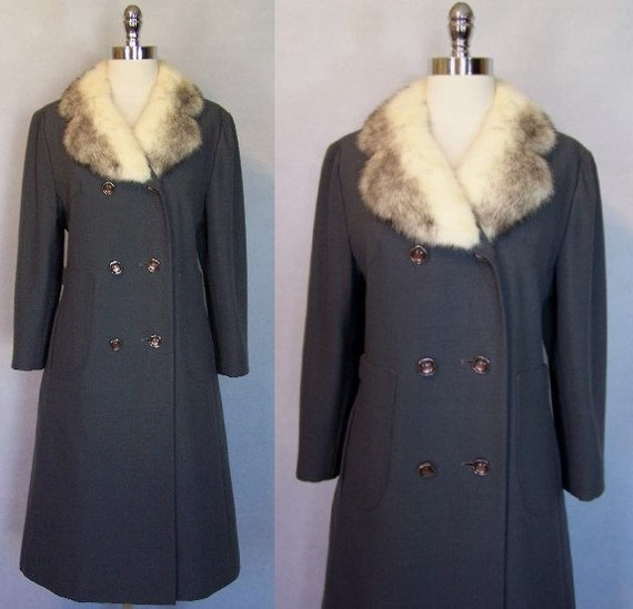 Gorgeous 70s Grey Wool Mink Fur Trim Princess Coat