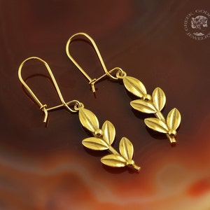 olive leaf golden dangle earrings greek jewelry leaves earrings bridesmaids gifts laurel earrings bridal earrings olive leaf earrings