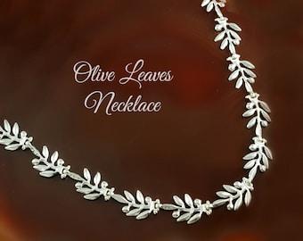 olive leaves silver necklace olive leaf necklace silver necklace greek necklace bridesmaid necklace bridesmaid jewelry greek jewelry laurel