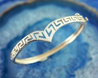 greek key bracelet, meander bracelet, greek key bangle, silver bangle, silver bracelet, sterling silver bangle, greek jewelry, greek bangle