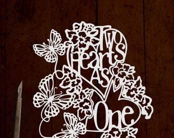 Two Hearts As One Paper SVG cutting template