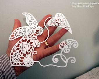I Love You - papercut SVG template