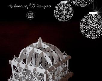 Christmas 3d Paper Pergola SVG Template