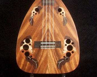 Bruce Wei Solid Acacia Koa Tenor Ukulele, Wood Inlay, Bag UF17-2023