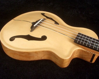 Carved ARCHTOP Solid Spruce Curly Maple Tenor Ukulele MOP Inlay, Bag UAC17-2003