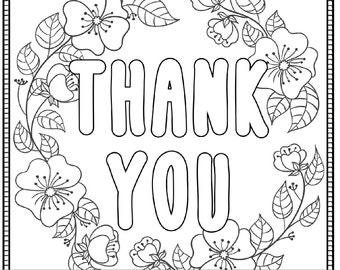 Thank You Printable Coloring Page For Adults PDF JPG Instant Download Sentiment Book Sheet Digital Stamp
