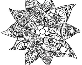 christmas coloring page for adults poinsettia coloring page holiday coloring instant download gift idea stocking stuffer pdf jpg