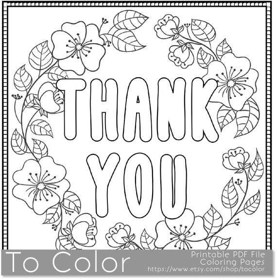 Thank You Printable Coloring Page For Adults PDF / JPG Etsy