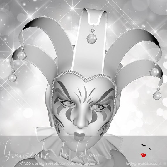 Venetian Mask Grayscale Coloring Page Greyscale For