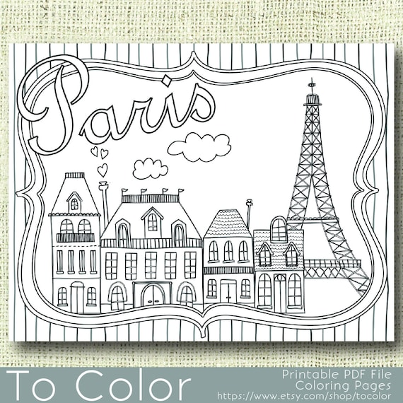 Printable Paris Coloring Page For Adults Pdf Jpg Instant Etsy