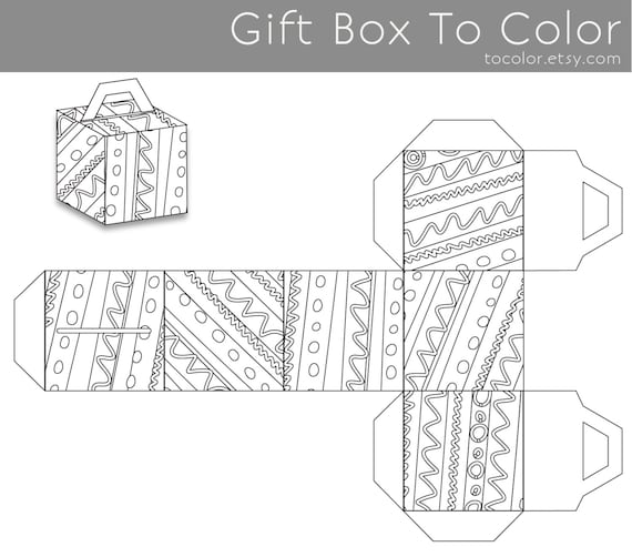 Coloring Pages Gift Box To Color Coloring Book Coloring Etsy