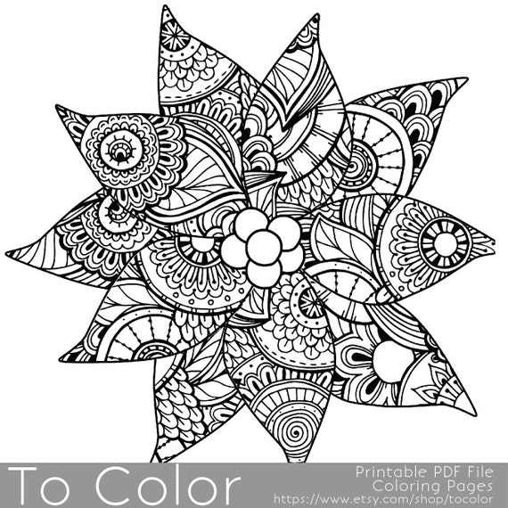 Christmas Coloring Page For Adults Poinsettia Coloring Page Etsy