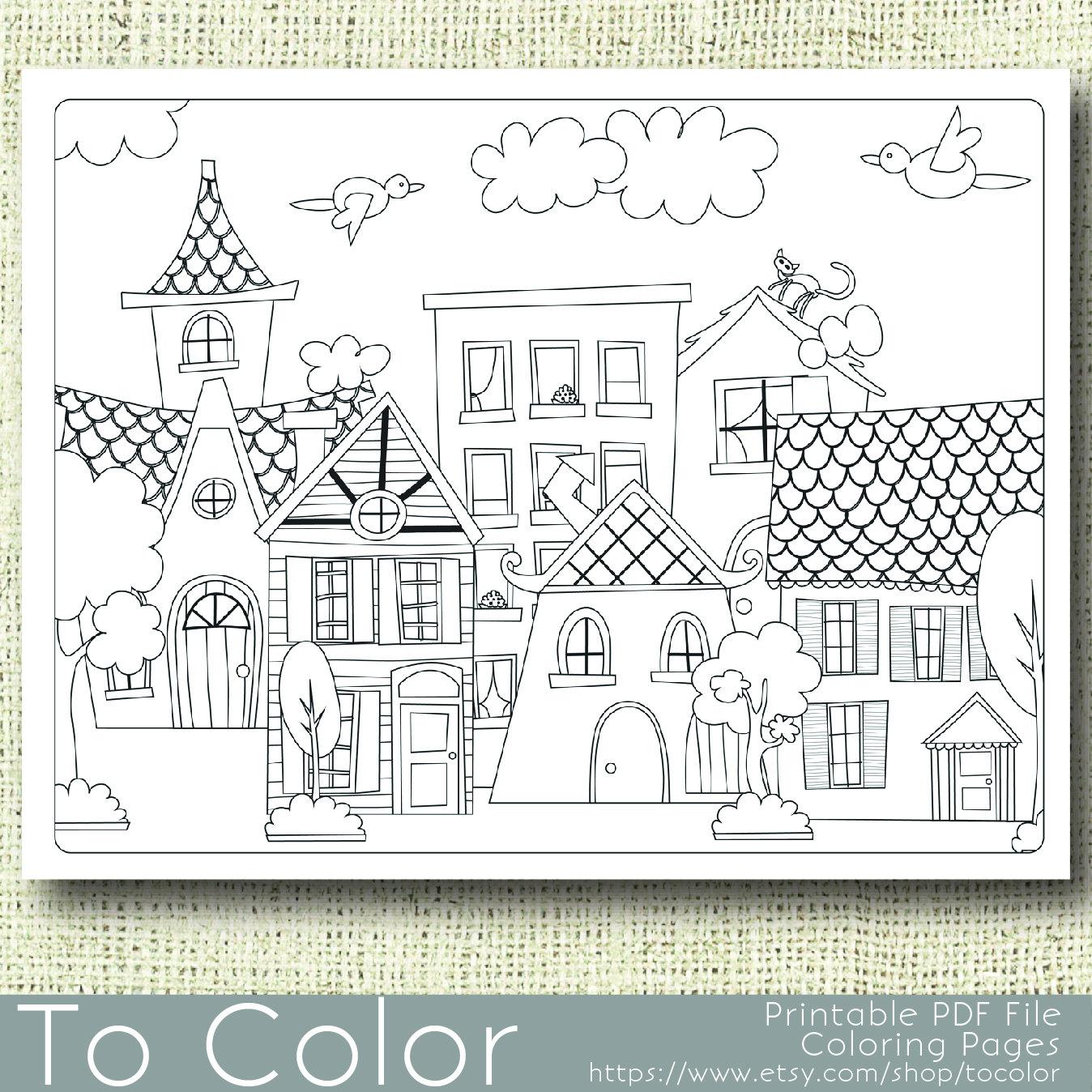 Casas para imprimir para colorear página para adultos PDF /   Etsy