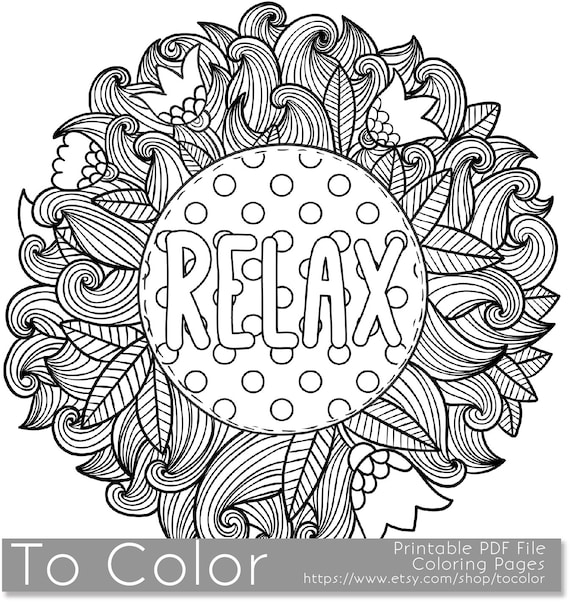 - Printable Relax Coloring Page For Adults PDF / JPG Instant Etsy