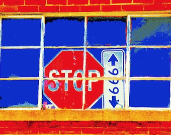 Poster print stop sign urban industrial brick wall found art digital download