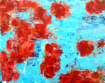 Abstract Painting, original art, digital download, fire flowers