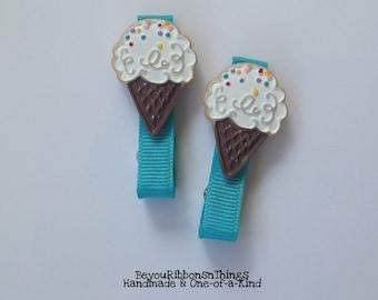 Bubblegum Ice Cream | Hair Clips for Girls | Toddler Barrette | Kids Hair Accessories | Turquoise Grosgrain Ribbon | No Slip Grip | Summer
