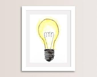 Light Bulb Art, Light Bulb Decor, Light Bulb Sign, Printable Wall Art, Illustration Wall Print, Digital Download