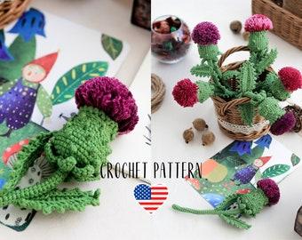 PATTERN Thistle cardo artichoke crochet flower PDF pattern