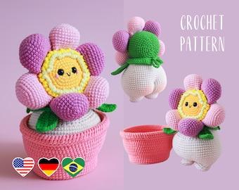 Amigurumi pattern Cheeky flower, crochet floweret in a pot, PDF tutorial
