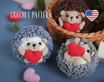 PATTERN Hedgehog with the heart - Wedding, for mom gift, amigurumi crochet toy pattern
