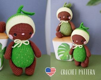 PATTERN  Baby Avocado crochet doll amigurumi PDF pattern
