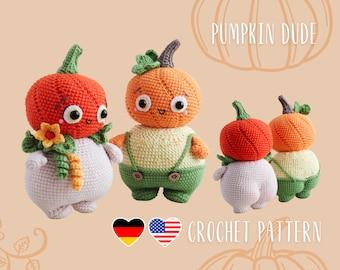Pumpkin dude amigurumi pattern, booty pumpkin doll crochet tutorial, Halloween decoration, PDF