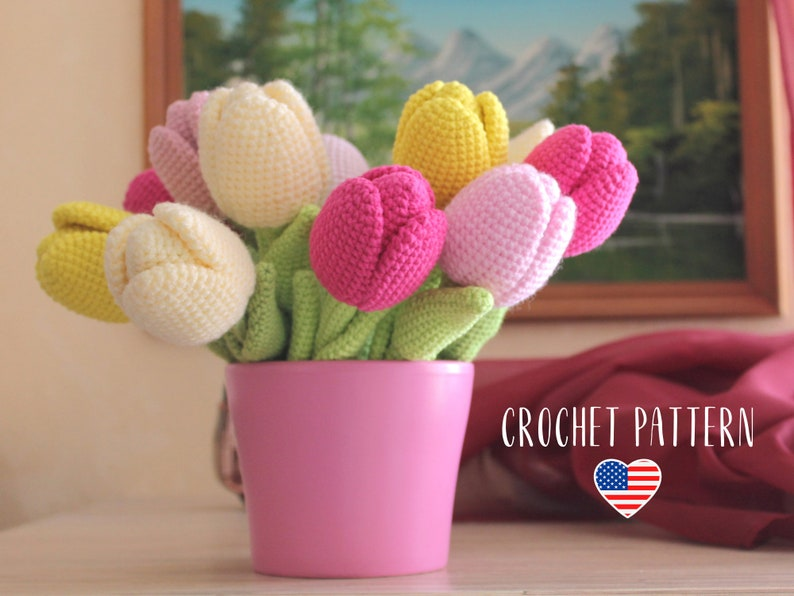 Crochet pattern Tulip amigurumi flower PDF tutorial image 1