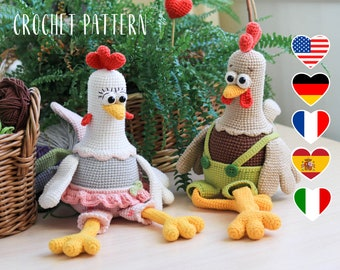 PATTERN Rooster and hen Easter decor - amigurumi chickens crochet toy pattern