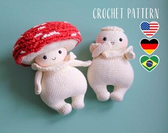 Mushroom dude amigurumi pattern, fly agaric toy crochet tutorial, PDF