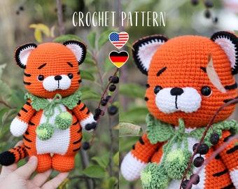 PATTERN Tobi the tiger crochet toy pattern amigurumi tutorial