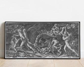 "Witch Sabbath Poster - ""The Carcass"" Agostino Veneziano poster - Witchcraft print - Monster Bosch Durer Magic Walpurgisnacht Ritual Vintage"