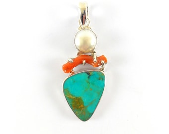 Women Turquoise Pendant-Natural Arizona turquoise pendant with natural Red Coral and Biwa Pearl