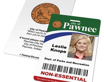 Custom Pawnee ID Card from Parks and Rec, Leslie Knope, Ron Swanson, Recreation, City of, Non-Essential, Essential Employee, Cosplay