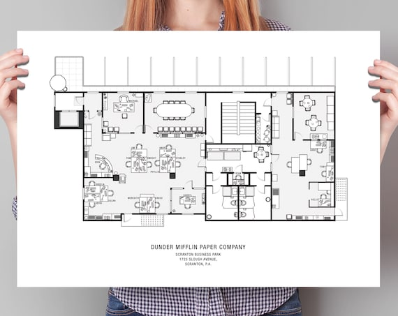 Large The Office Floor Plan Poster The Office Blueprint The Etsy