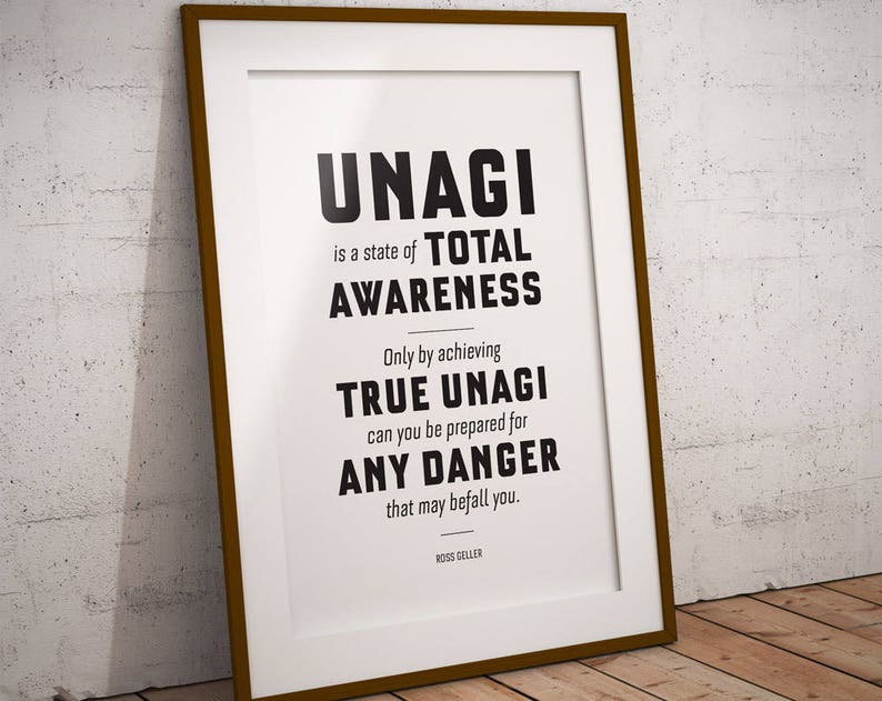 Unagi Ross poster: Quote wall art, Friends TV show, quote prints, quote  posters, Friends print, Friends quote, gifts, Ross Geller, funny