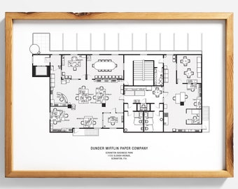 The Office Floor Plan: The Office TV show, The Office poster, US, print, Dunder Mifflin, blueprint, architectural print, schematic print