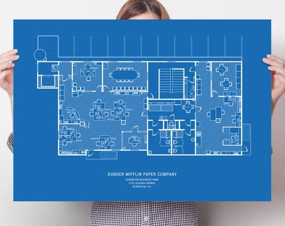 Dunder Mifflin Floor Plan The Office Tv Show The Office Etsy