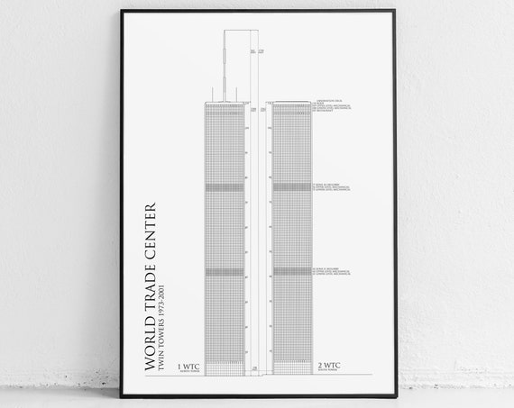 World Trade Center Blueprint Twin Towers Poster Etsy
