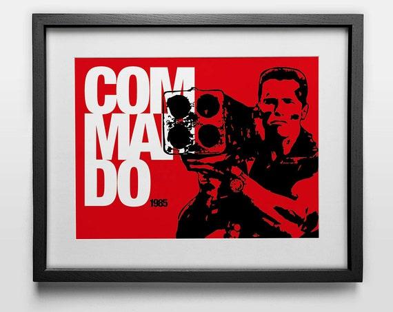 Graphic Movie Poster Commando With Arnold Schwarzenegger Etsy