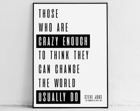 Steve Jobs Zitat Plakat Druck Apple Buro Wand Kunst Etsy