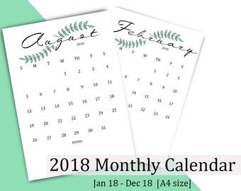 2018 Printable Calendar, 2018 Desk Calendar, Wall Calendar 2018, PDF Calendar, Calendars & Planners, Calendar Printable, 12 month calender