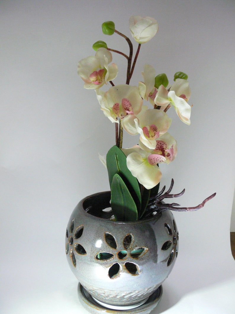 Planter Ceramic Orchid Pot Small Blue Orchid Pot Orchid Pot Orchid Planter SierraAvisPottery