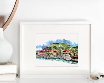 St Martin/St Maartin Watercolor Art Print, Caribbean Shoreline Print, Urban Sketch, Wanderlust Art, Tropical Seascape, Seascape Art