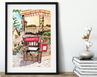 Bellagio, Lake Como, Italy Trattoria watercolor art print