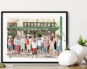 Original Starbucks Coffee Shop Watercolor Print, Coffee Lover Art Print, Kitchen Decor, Seattle Starbucks Coffee shop art, Urban Sketch