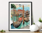 Travel Print: Venice Canals with Gondolas and Rialto Bridge Romantic art, watercolor art, office decor, cubicle decor, wanderlust art